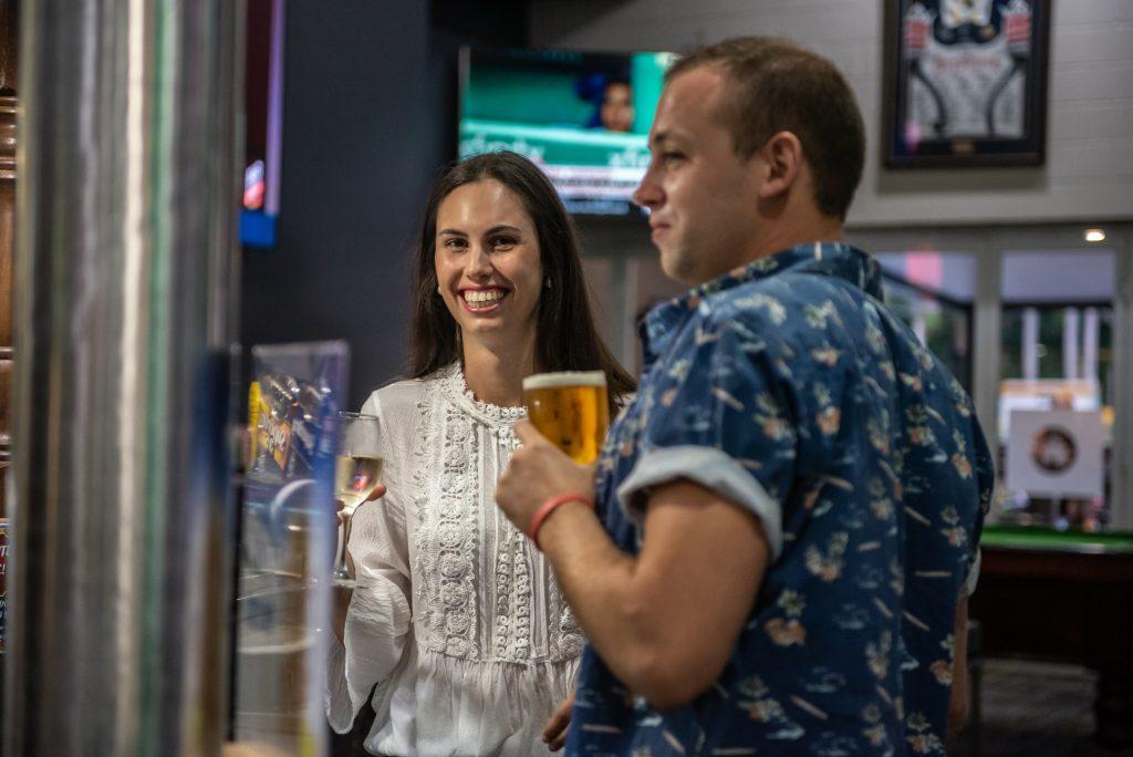 couple enjoying pub