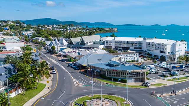 drone property photo airlie beach main street