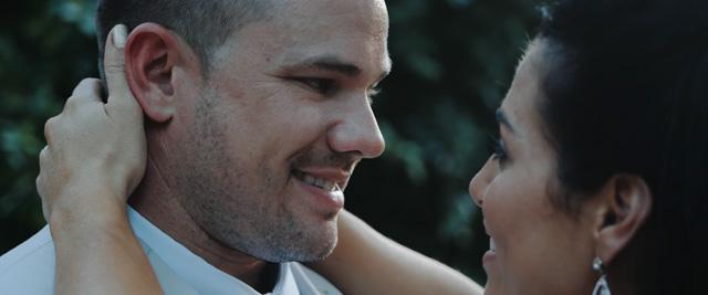 groom looking into brides eyes