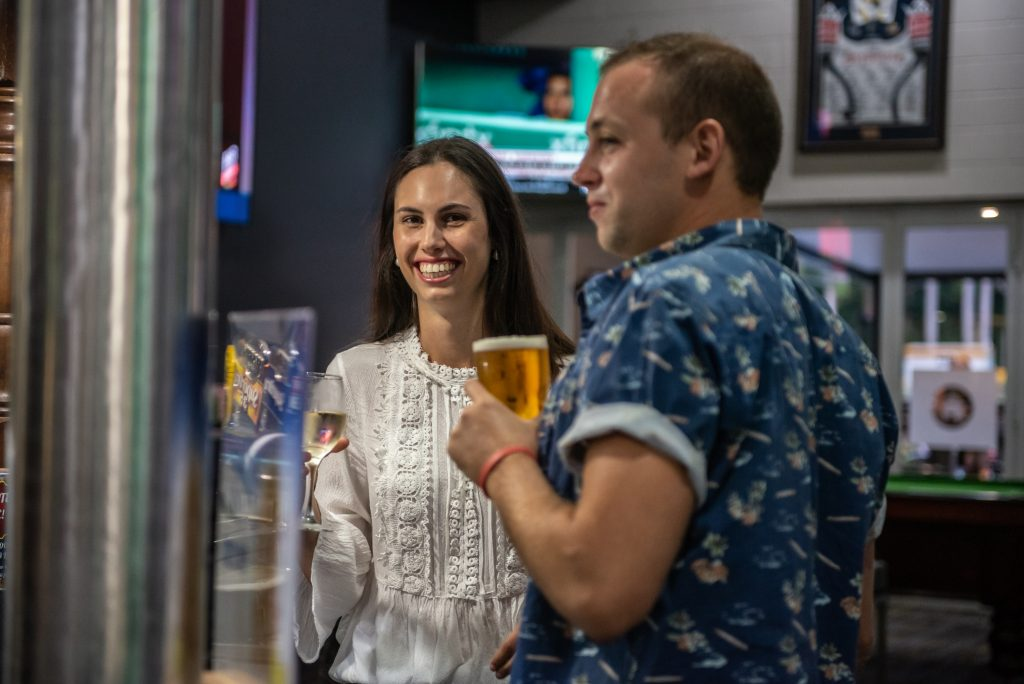 couple enjoying pub