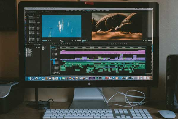 screen with premiere pro timeline